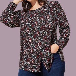 LOFT Plus Floral Puff Shoulder Blouse
